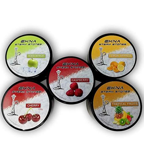 EKNA Steam Stones - Set per frullatore di frutta, 2-5 x 120 g, pietre per narghilè, senza nicotina, sostituto del tabacco narghilè, pietre a vapore con gusto intenso (mix di frutta 2)