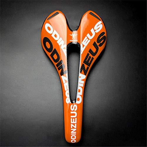 Sella per bicicletta da montagna in fibra di carbonio completa lucida/opaca 3k Road/Mtb Bike Carbon Fold Sella anteriore per bici Parti della bici Gloss Orange