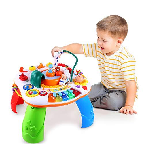 Ohuhu Spieltisch Musikalischer Lerntisch Baby Spieltisch mit Simulationszug, Activity Table Musikspielzeug, Spielzeug Geschenk für Baby Kinder ab 1 Jahr, Mädchen, Junge