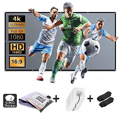 Beamer Leinwand 120 Zoll,Projektion Leinwand HD 16: 9 Anti-Licht Knitterfest Unterstützung Projektion für Heimkino und Freiluftkino Upgrade Verdicken