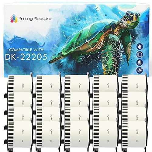 20x Compatible Rollo de Etiquetas DK-22205 62mm x 30.48m Cinta continua de papel blanca para Brother P-Touch QL-500 550 570 700 710W 720NW 800 810W 820NWB 1050 1100 1110NWB, alta capacidad adhesiva