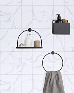 Matt White Gray Granite Marble Contact Paper White Self Adhesive Kitchen Bathroom Tile Cabinet Wallpaper Removable Thick Peel and Stick Wallpaper Countertop Cabinet Furniture Shelf Liner Marble Paper