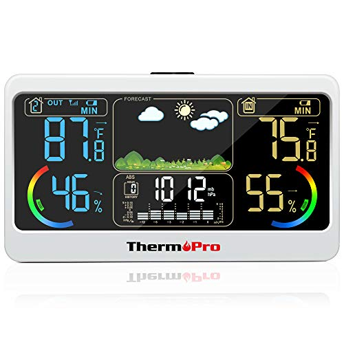 "ThermoPro TP68B 500ft Weather Station Indoor Outdoor Thermometer Wireless Hygrometer Barometer Weather Forecast with 7"" Large Color LCD Screen"