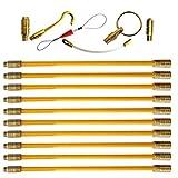 Aewio 通線 入線 呼線工具 ロッド ケーブル牽引具セット5m(50cmx10pcs) (全長さ5m,10x50cmロッド イエロー)