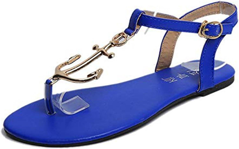 Womens Ladies Metal Flat Walking Sandals Flip Flops Ankle Strap Buckle Slip on Comfy Dress Summer Thongs