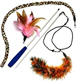 Pet Fit For Life 猫じゃらし Multi Feather Teaser and Exerciser For Cat and Kitten - Cat Toy Interactive Cat Wand [並行輸入品]