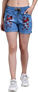 ROOLIUMS Women's/Girls Drawstring Denim Wash Printed Shorts for Women