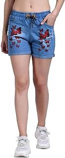 ROOLIUMS Women's/Girls Drawstring Denim Wash Printed Shorts for Women