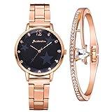 Damenuhr Klassische Quarz Minimalistisch Zifferblatt Armbanduhr mit Edelstahlarmband mit Elegante Armbänder, Geschenke für Frauen (A, Schwarz)