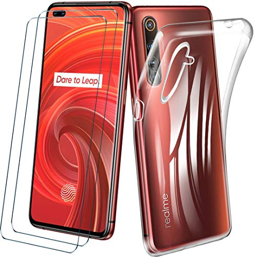 غطاء HYMY لـ Realme X50 PRO 5G + 2X فيلم واقية - غطاء واقي من السيليكون الشفاف الناعم TPU غطاء واقٍ من الحماية + زجاج مقسى لـ Realme X50 PRO 5G - واضح