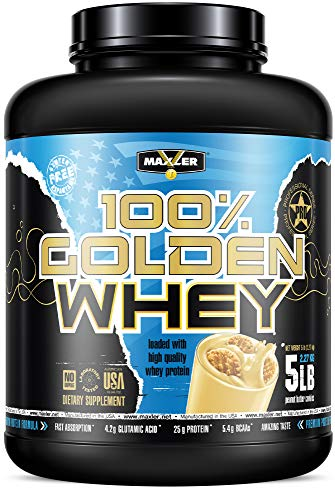 Maxler 100% Golden Whey - Premium 100% Whey Protein Powder, High Protein, Low Fat, Low Carb, Complete Amino Acid Profile - Peanut Butter Cookies 5 lbs