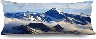 Ahawoso Zippered Body Pillow Cover 20x60 Inches Blue Zealand Alps Nz Alpine Peak Landscape Mountain Cook Range Nature Parks Snow Top Valley View Mist Decorative Cushion Case Home Decor Pillowcase