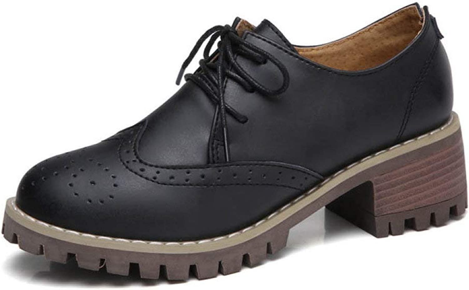 Fay Waters Women's Leather Perforated Pump Oxfords Lace-up Mid Heel Brogue Wingtip Platform shoes