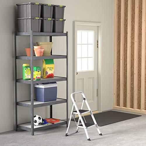 Amazon Basics Step Stool - 2-Step, Steel with Anti-slip Mat, 200-Pound Capacity, White and Black