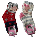 4 Paar Kinder Kuschelsocken Bettsocken Kids Kuschel Socken Haussocken (35-38, Rosa+Rot)