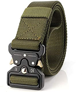 """YAMATE Men's Tactical Belt, W/1.7""""-2""""Military Combat Army Style Equipment Adjustable Heavy Duty Nylon Waist Belt with Quick-Release Metal Buckle for Men's Outdoor Training Activities"""