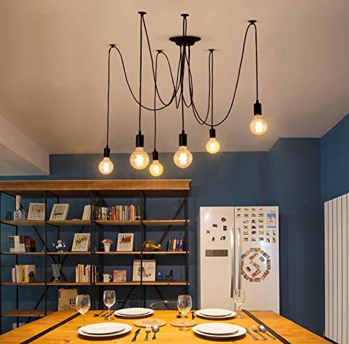 XuanYue hanglamp met 6 armen voor kroonluchter in retro-look met lamp in spidervorm E27