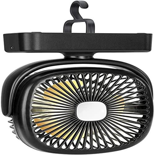 PEARFALL Mini ventilador de escritorio giratorio luz LED portátil para acampar función de carga USB con batería de 4400 mAh, adecuada para situaciones de emergencia en interiores y exteriores