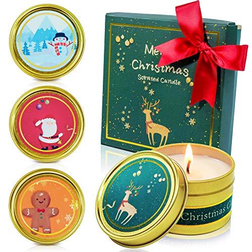 SCENTORINI Velas perfumadas de Navidad, Brandy de Jerez, Manzana y Canela, Cedro de Invierno, Pan de Jengibre, Cera de Soja Natural, Juego de Regalo