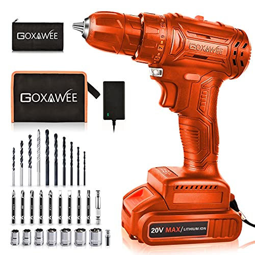 Cordless Impact Wrench - GOXAWEE 20V Electric Impact Driver (4.0Ah Battery, Brushless Motor, 1/2 & 1/4 Inch Quick Chuck, 2-Speed, Tool Bag) - High Torque Impact Kit for Home and DIY Project