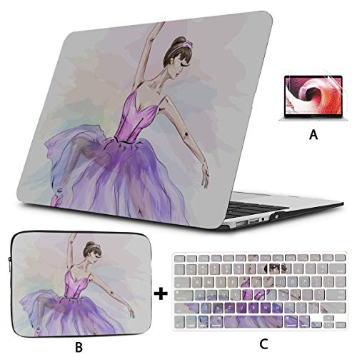 Macbook Pro Computer Case Cute Ballerina Dancing 13 Inch Laptop Case Hard Shell Mac Air 11'/13' Pro 13'/15'/16' With Notebook Sleeve Bag For Macbook 2008-2020 Version