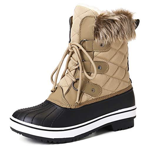 gracosy Schneestiefel Damen Wasserdicht Gefütterte Winterschuhe rutschfeste Warm Winterstiefel Schnee Stiefel Nylon Short Schnee Pelz Regen Stiefel Schwarz (Größe Schmal)