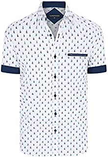Tarocash Men's Cruisin Print Shirt Regular Fit Long Sleeve Sizes XS-5XL for Going Out Smart Occasionwear