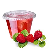Star555,9 oz 100 sets clear Disposable Plastic Cups with Flat Lids Party Cup for Cold Drinks - Bubble Boba - Iced Coffee - Tea - Smoothie