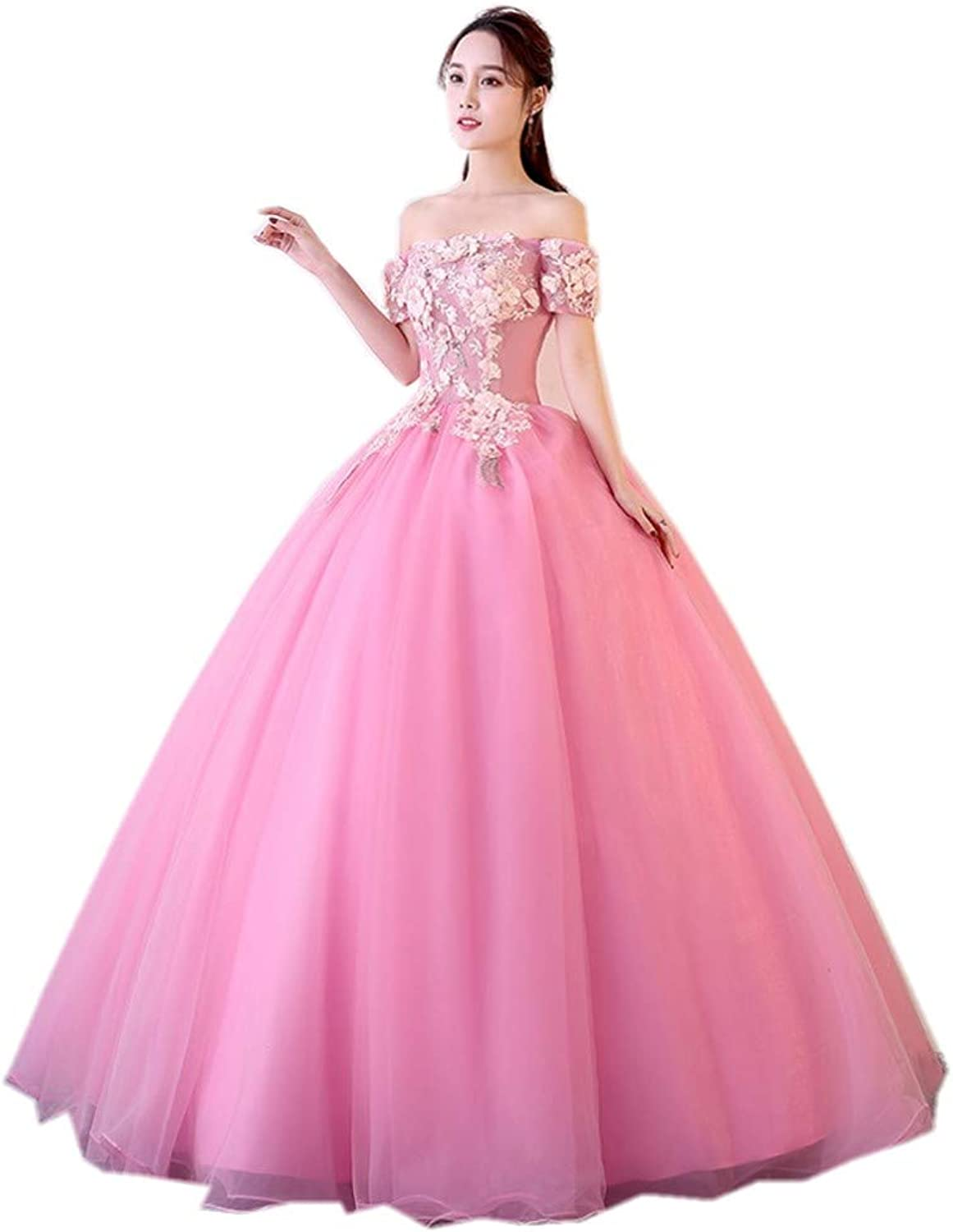 Darcy74Dulles Women's Sweet 16 Quinceanera Dresses Pink Ball Gown Off The Shoulder Lace Long Prom Dresses