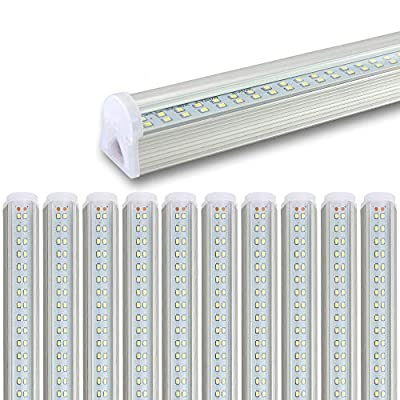 AIEASY ?10pack?LED T8 4FT Integrated Tube Light 22W 2600Lm AC100-277V Clear Cover Cool White 6000K Dual-Sided Plug and Play,for Garage Workshop Warehouse
