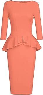 Women's Bodycon Midi Peplum Dress Sheath Long Sleeves Dresses