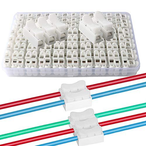 QitinDasen 62Pcs Premium Schnelldrahtverbinder Set, Federverbindungsstück Verbindungsklemmen, Kabelklemme Klemmenblock (50Pcs CH2 + 12Pcs CH3)