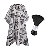 CCbeauty 2Pcs Barber Cape Barber Supplies Tool Set Salon Waterproof Haircut Cloth Apron Wrap Hairstylist Cleaning Chest Neck Duster Brush Hairdressing Kit