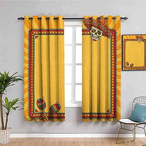 JNWVU Blickdicht Vorhang für Schlafzimmer - Gelb Schädel Retro Zirkus - 3D Druckmuster Öse Thermisch isoliert - 200 x 160 cm - 90% Blickdicht Vorhang für Kinder Jungen Mädchen Spielzimmer