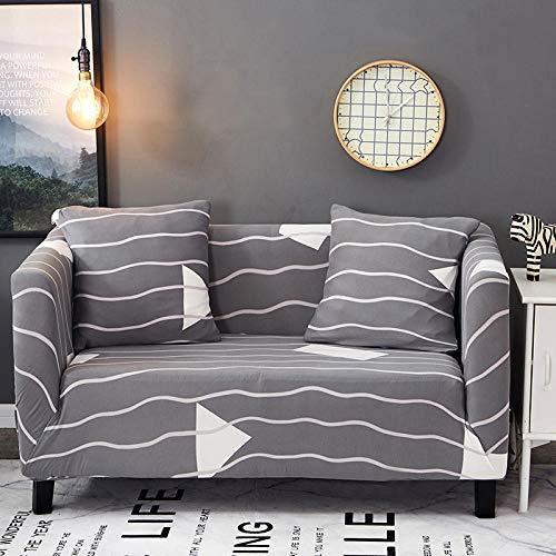 Grå ränder stretch sofföverdrag polyester spandex tryckt soffa överdrag 2-sits halkfri soffa skydd universal soffa skydd möbler skyddande fodral