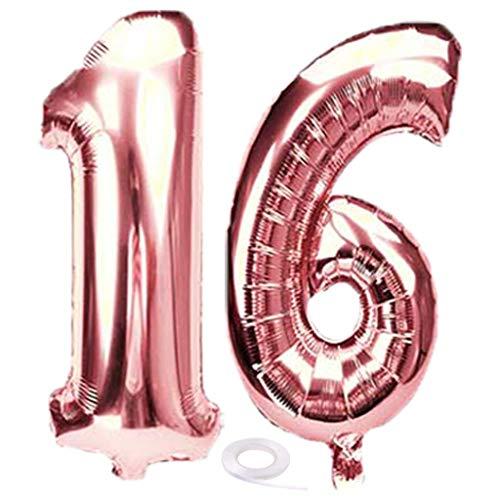 SNOWZAN Luftballon16. Geburtstag Deko Rosegold Mädchen Zahl 16 Riesen Folienballon Helium Nummer 16 Luftballon Große Zahlen 16 Jahre XXL 16. Happy Birthday 32 Zoll Riese Zahl 16Geburtstag für Party