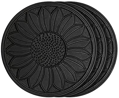 HF by LT Rubber Sunflower Garden Stepping Stone, 11-3/4 inches, Black, Set of 3