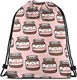 NINGXIE52365 Delicious Nutella 3D Print Drawstring Backpack Rucksack Shoulder Bags Gym Bag for Adult 16.9'X14'