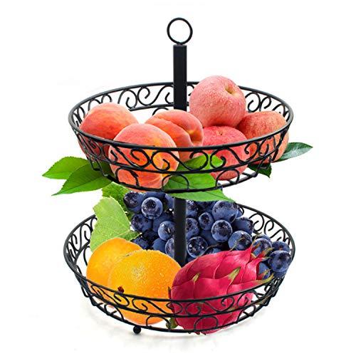 LAZAJ Frutero De 2 Pisos Redondo-Frutero De Capas Canasta,Cesta De Fruta Y Verduras Fruteros De Cocina Modernos para Verduras Y Frutas Frescas