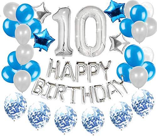 JeVenis 36 PCS Silber Blau 10 Geburtstags Dekorationen 10 Geburtstags Ballons Alles Gute zum 10 Geburtstag Ballon 10 Geburtstags Dekorationen