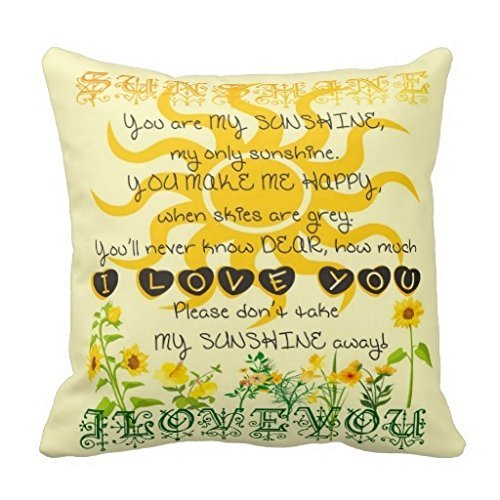 You Are My Sunshine Pillow Fashion Home Decorative Pillowcase Cotton Polyester Pillow Cover(45cm x 45cm, One Sides)