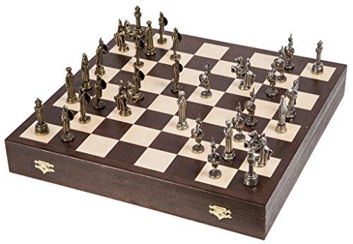 SQUARE GAME Schach Schachspiel - Emirates - Schachfiguren aus Metall - Schachbrett aus Holz