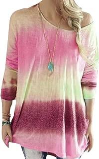 Jmwss QD Womens Casual Fall Crewneck Long Sleeve Gradient Blouse T Shirt Top