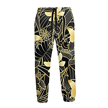 njfhgk Gym Jogger Pants Golden Fly Dragonfly Leaf Casual Workout Pants Running Sweatpants with Pockets