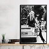 yaofale Sin Marco Decoración de Arte Caliente Brigitte Bardot Actriz Estrella de Cine Modelo Pared Arte Lienzo Pintura Seda Cartel decoración del hogar 40x50cm