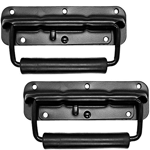 "Set of 2 Speaker Cabinet Handles Surface Mount Spring Loaded PA Flip Black Metal Handle 5 9/16"" X 1 3/4"""