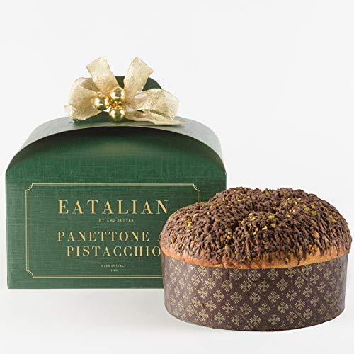 EATALIAN BY AMZ BETTER Panettone Artigianale al Pistacchio 1 Kg, Autentico, Soffice e Profumato, Dolce di Natale, Made in Italy, OGM free