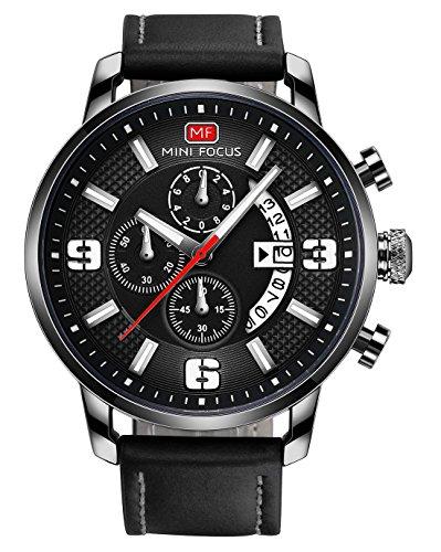 MINI FOCUS - Reloj de Quartz Cuarzo para Hombre con Fecha Cronógrafo Impermeable Banda de Silicona Deportivo - Negro