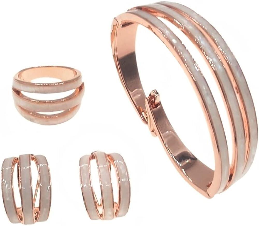 Yulaili Italian Gold Style Rose Gold Fashion Bracelet Ring Earrings Jewelry Set