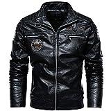 moxishop Veste décontractée PU en Cuir Vintage Homme Automne Hiver Aviateur Moto Blousons Men Leather Jacket (Noir,XL)